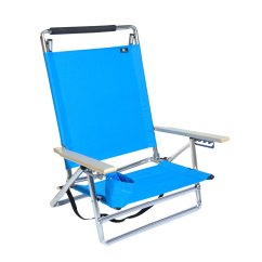 Beach Chair Cup Holder Theatre Room Chairs Deluxe 5 Pos Lay Flat Aluminum W 250 Lb Load Capacity