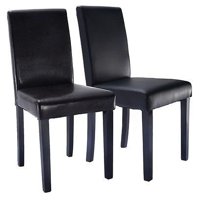 Set of 2 Elegant Design Leather Contemporary Dining Chairs