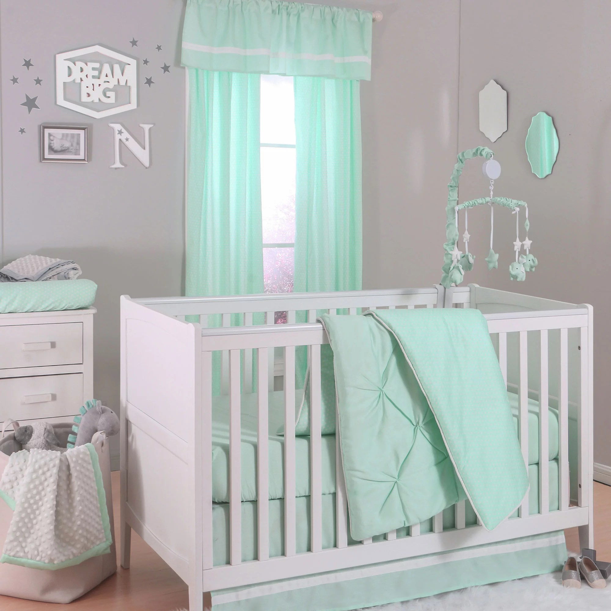 the peanut shell 4 piece baby crib bedding set mint green pintuck and confetti dot prints 100 cotton quilt dust ruffle fitted sheet and mobile