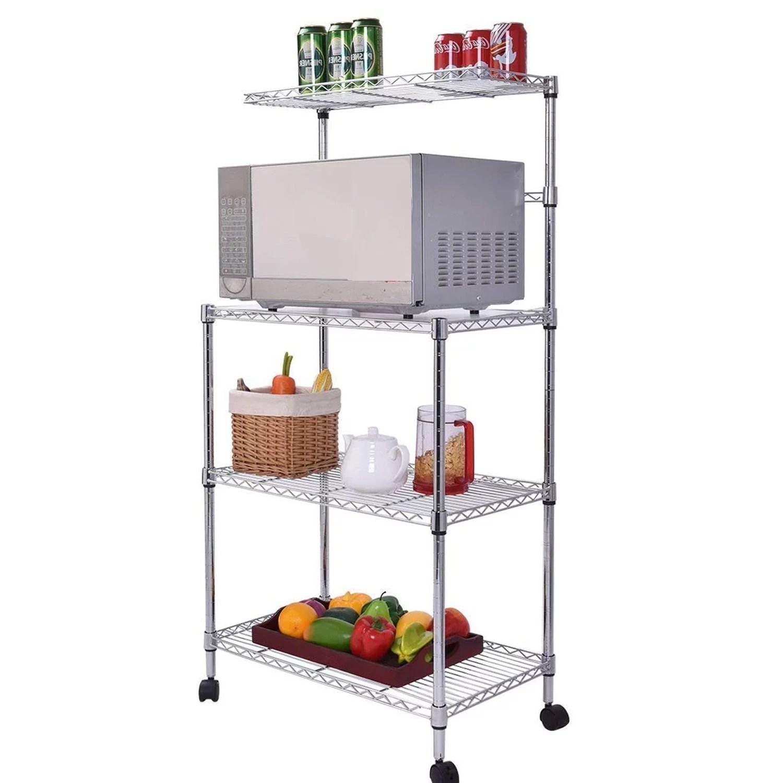 kitchen bakers rack easy to do backsplash zimtown 4 layer adjustable shelf microwave oven stand storage cart