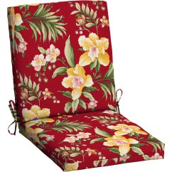 Patio Chair Pads Bamboo Mat For Carpet Mainstays Outdoor Dining Cushion Red Tropical Walmart Com Departments