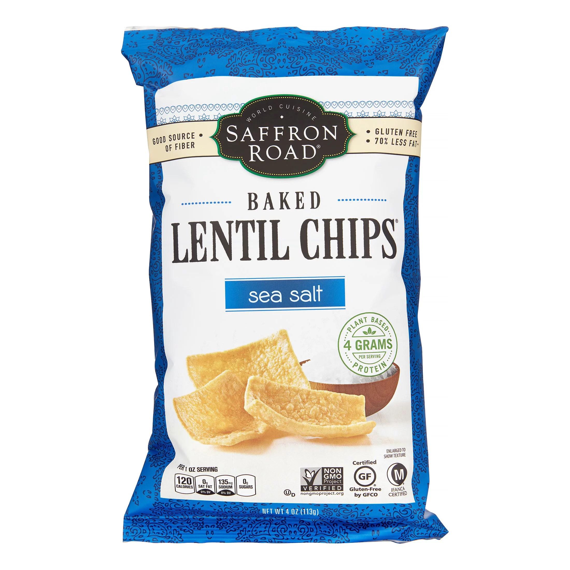 Saffron Road Lentil Chips Sea Salt Baked 4 Oz Walmartcom