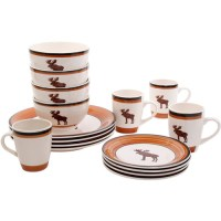Mainstays Moose Cabin 16-Piece Dinnerware Set, Multi-Color ...