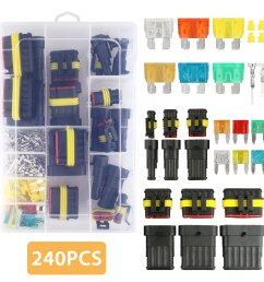 tsv 240pcs 1 2 3 4 5 6 pin waterproof car auto electrical wire connector terminal plug with 5 30 amp blade fuses assortment kit for motorcycle scooter  [ 1600 x 1600 Pixel ]