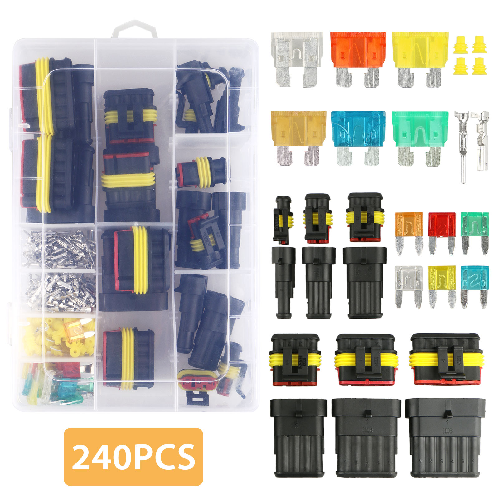 hight resolution of tsv 240pcs 1 2 3 4 5 6 pin waterproof car auto electrical wire connector terminal plug with 5 30 amp blade fuses assortment kit for motorcycle scooter