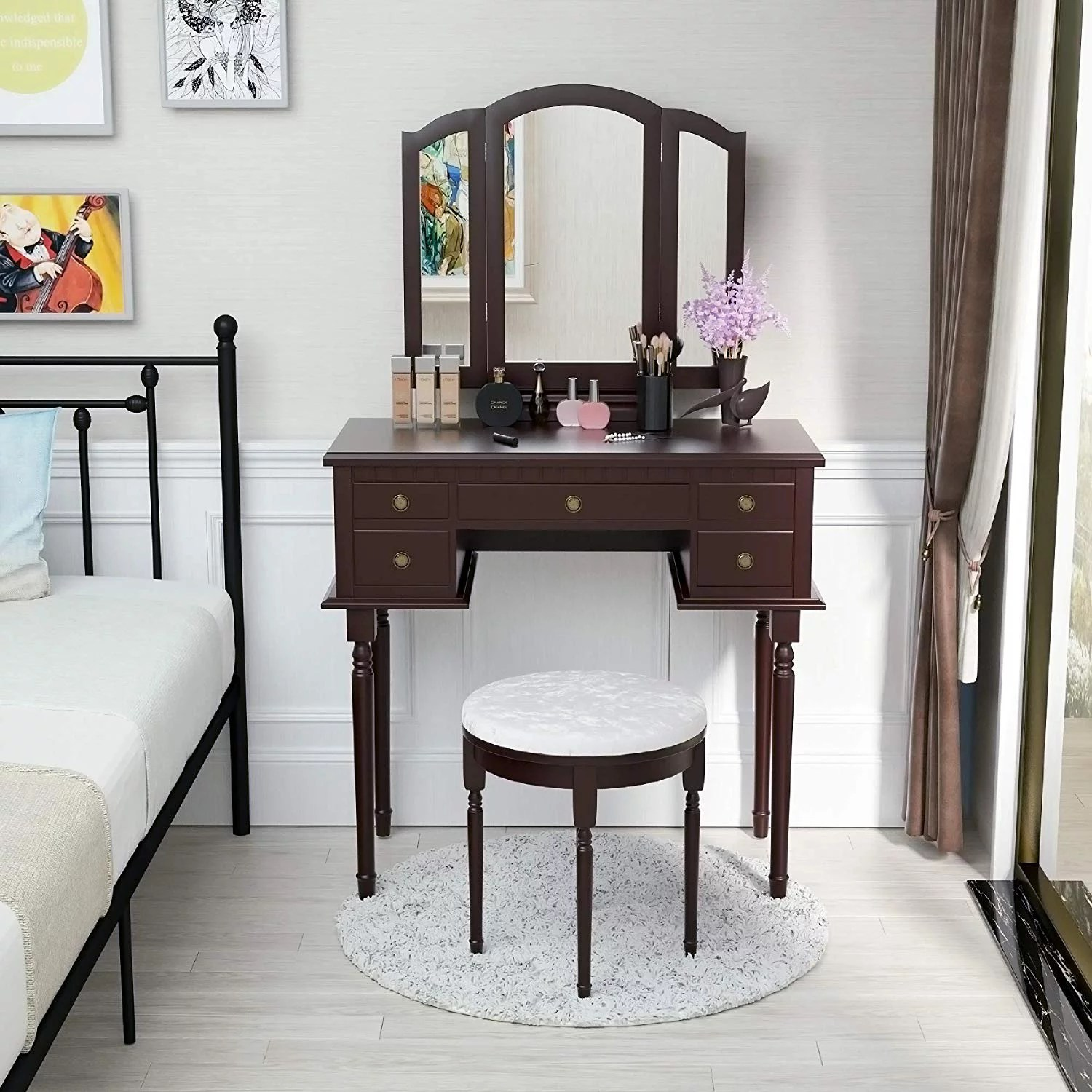 mecor vanity table set w tri folding mirror wood makeup table and round stool 5 drawers storage girls women bedroom furniture dressing table brown