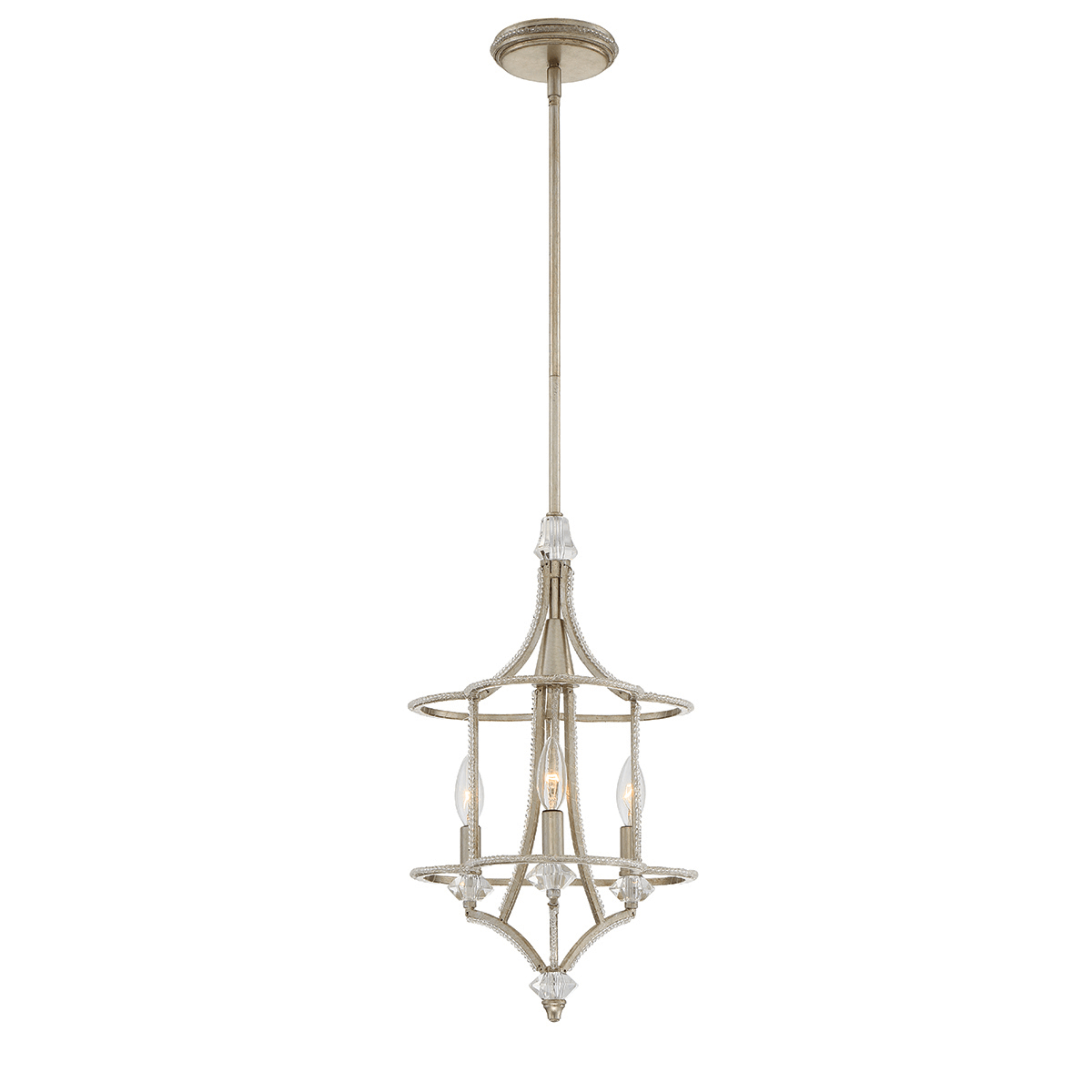Chandeliers 3 Light Bulb Fixture With Silver Tone Finish