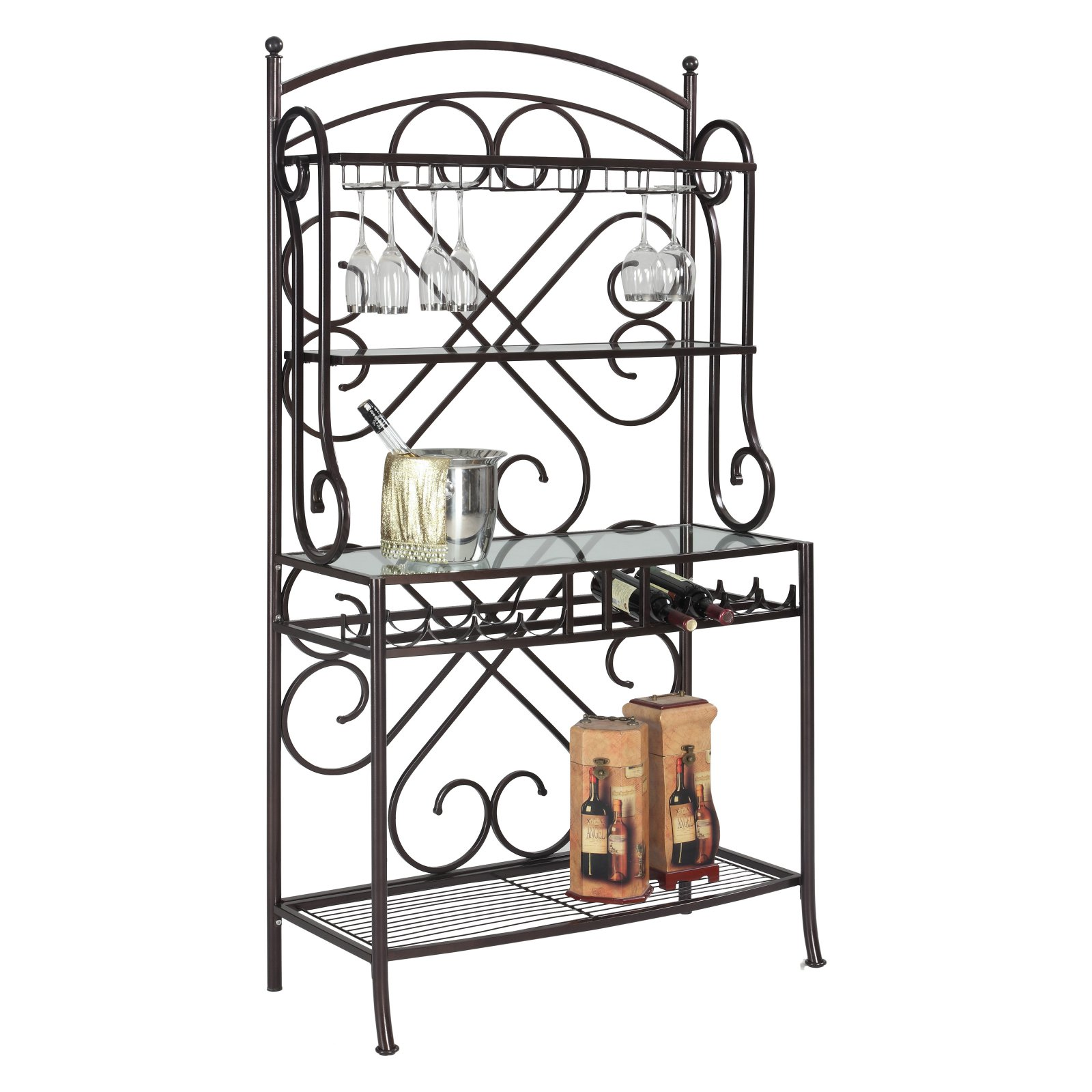 chintaly 3 shelf metal bakers rack with glass shelving