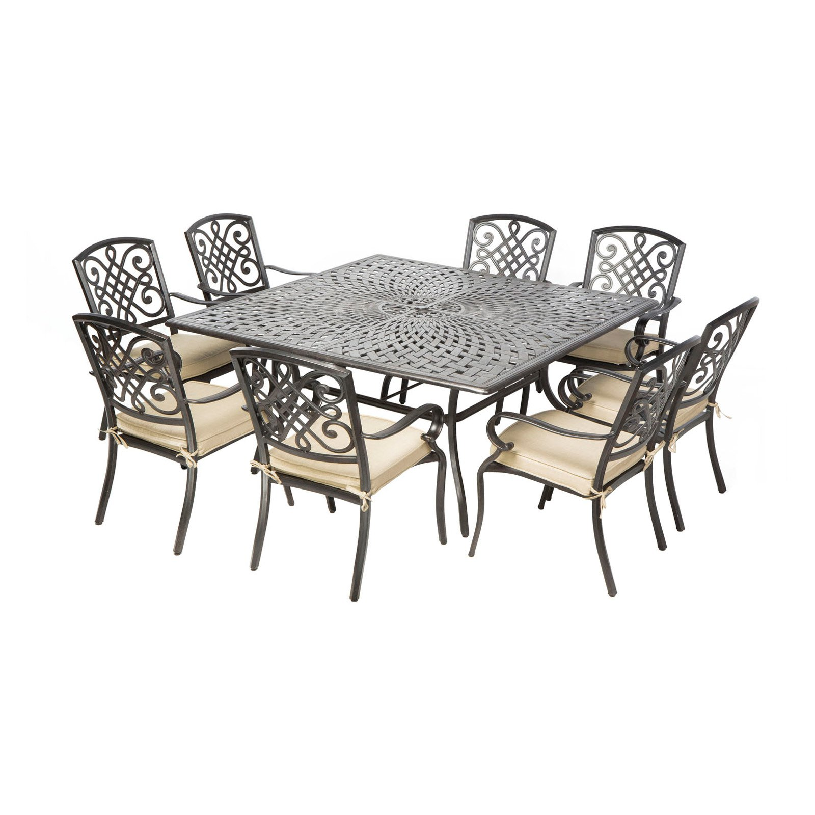 alfresco home barcelona square cast aluminum patio dining set seats 8