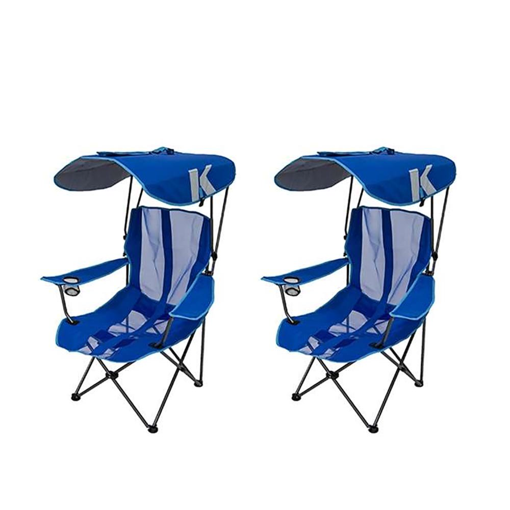 Foldable Lawn Chairs Kelsyus Premium Portable Camping Folding Lawn Chair With Canopy Blue 2 Pack