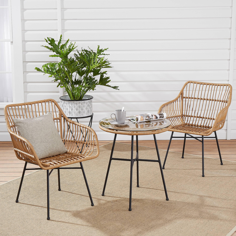 mainstays brayhills bistro patio furniture set nature 3 piece