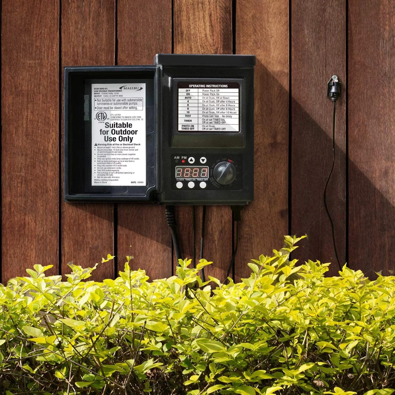 malibu low voltage transformer 45 watt for outdoor landscape lighting with photocell sensor timer and weather shield for spotlight floodlight garden