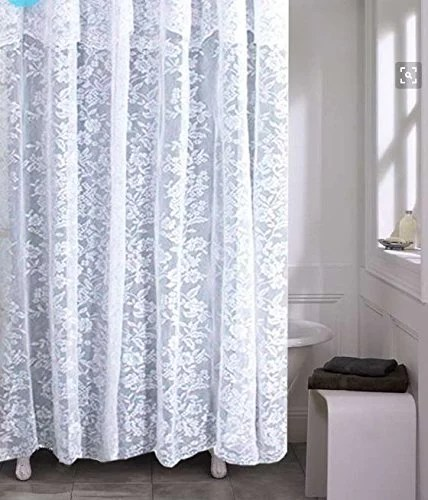 romance lace white fabric shower curtain with an attached valance 70 x 72 long
