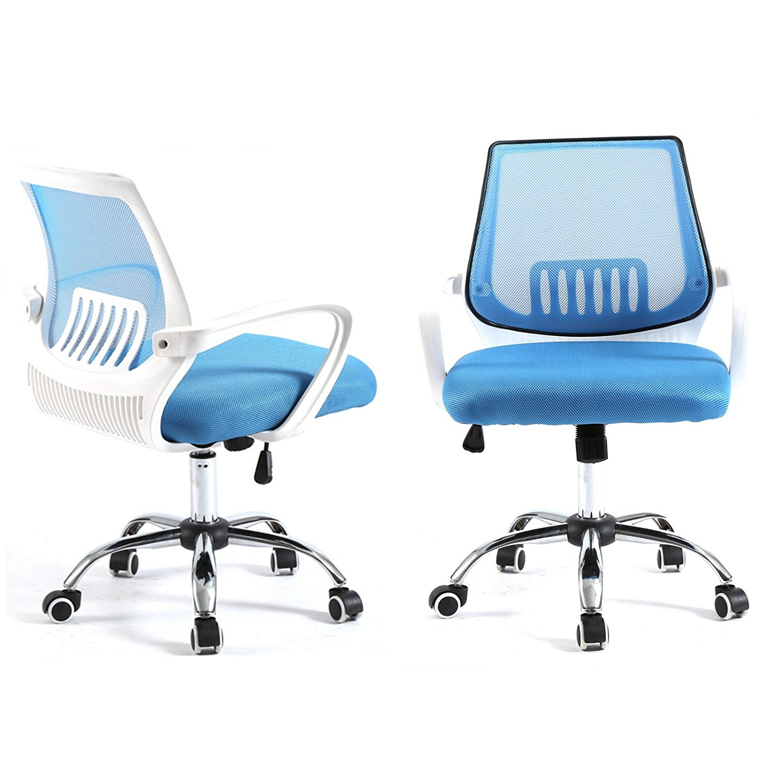 Magshion Modern Mid Back Mesh Drafting Computer Office Desk Chair Commercial Task Chairs Blue White Walmart Com Walmart Com