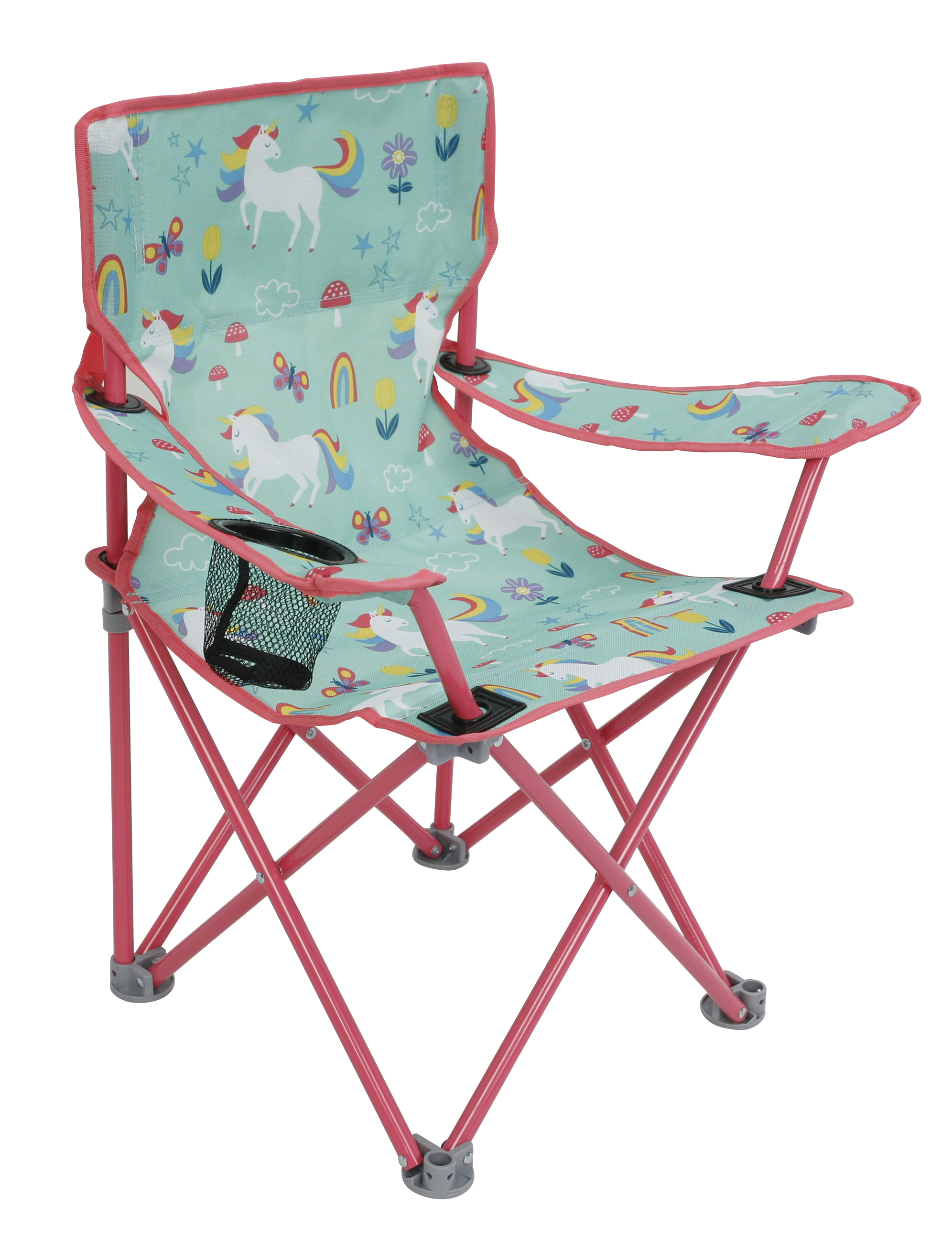 crckt kids folding camp chair with safety lock 125lb capacity unicorn print