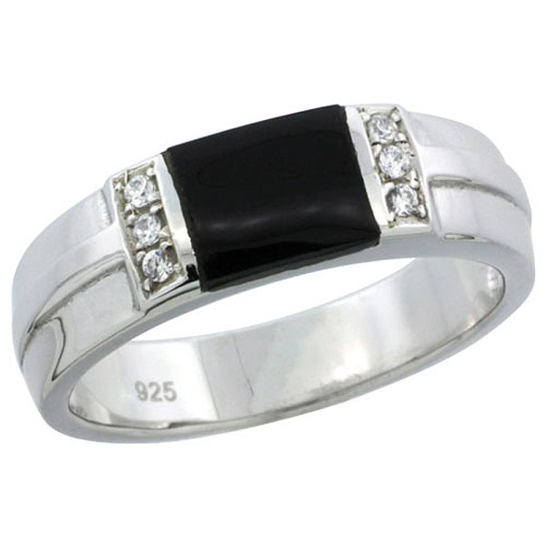 Sterling Silver Cubic Zirconia Mens Wedding Band Ring