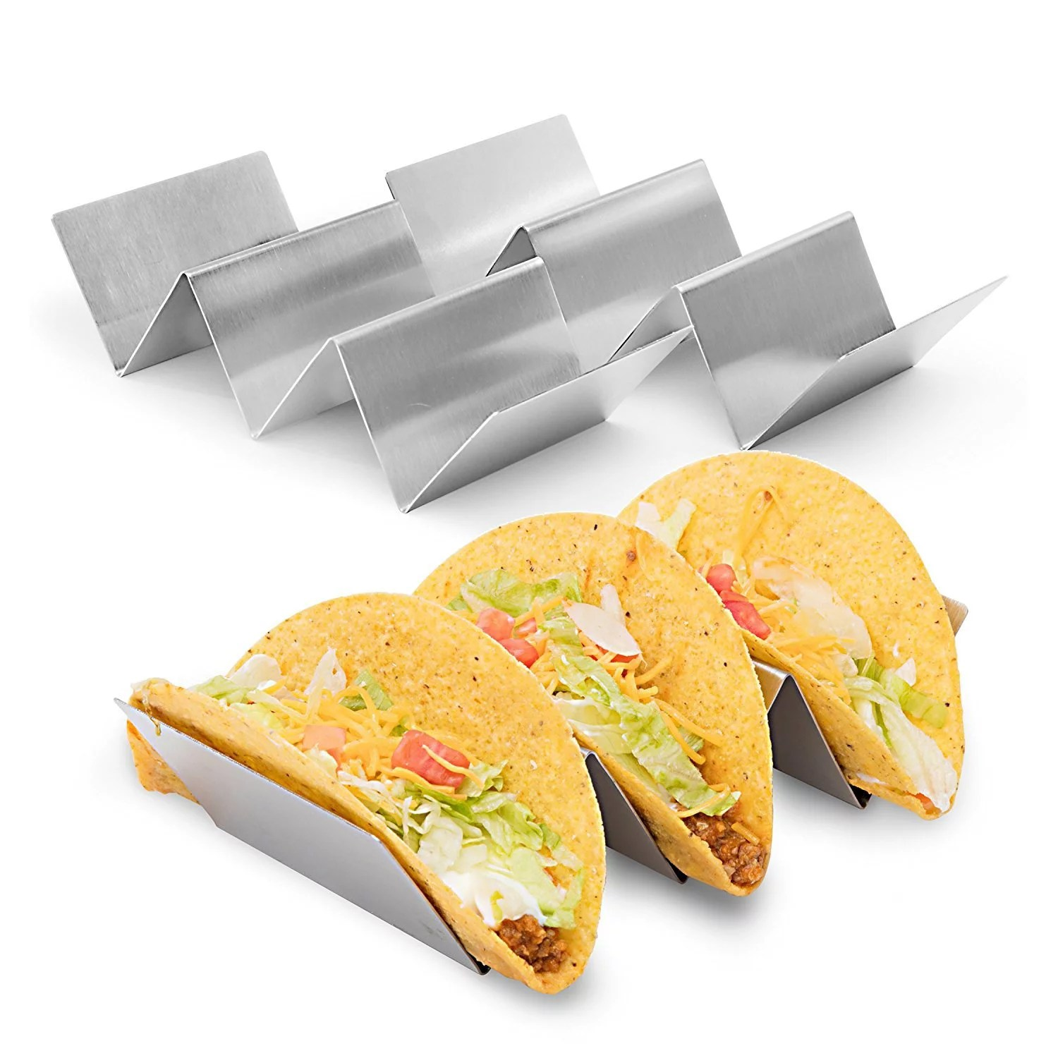 2 pk Taco Holder Stainless Steel Restaurant Quality Holds