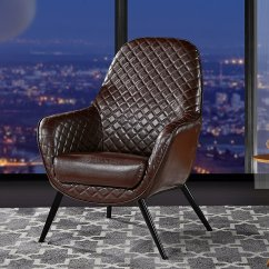 Leather Accent Chairs For Living Room Small Gaming Pc Chair Faux Arm With Diamond Stitch Detailing And Natural Wooden Legs Dark Brown Walmart Com