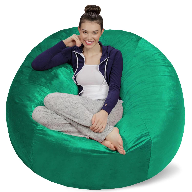 teal bean bag chair american leather chairs sofa sack memory foam 5 ft walmart com