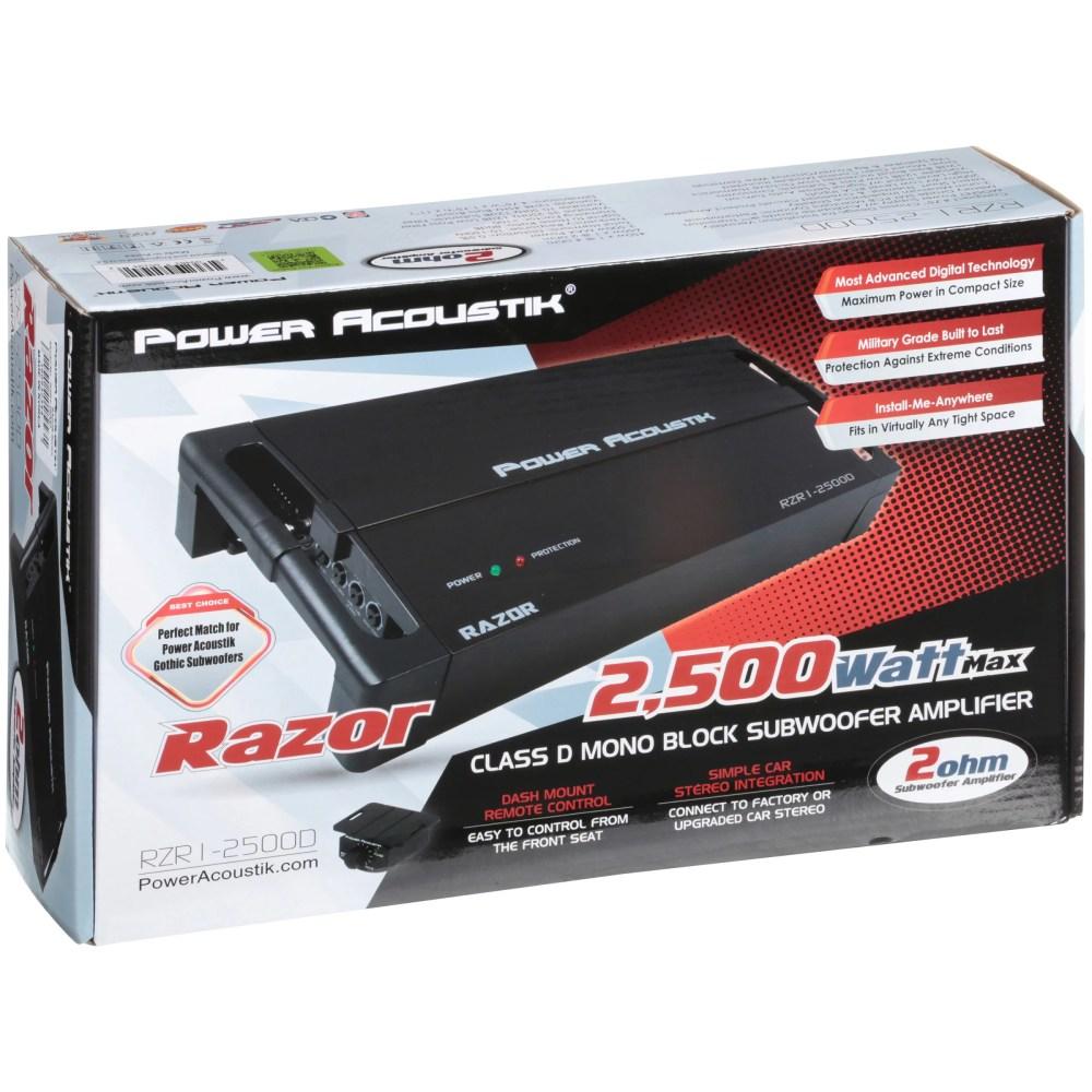 medium resolution of power acoustik 2 ohm 2 500 watt max subwoofer amplifier 5 pc box walmart com