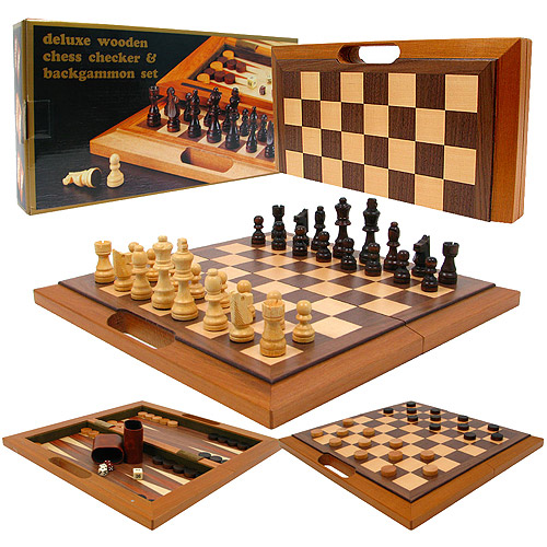 Deluxe Wooden 3 In 1 Chess Checker And Backgammon Set