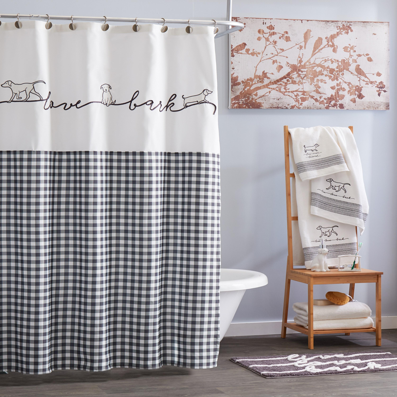 skl home farmhouse dogs fabric shower curtain black 72 x 72 walmart com
