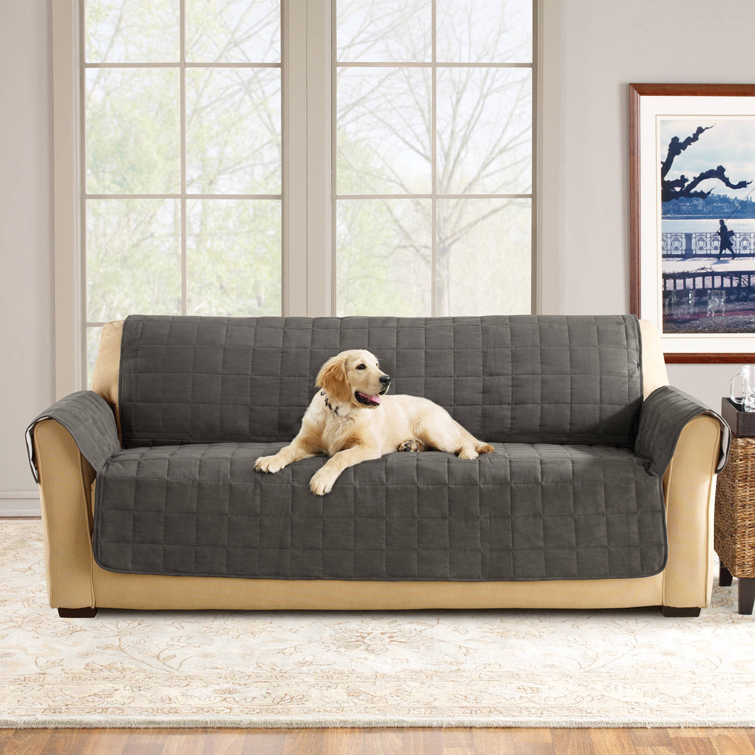 sofa coverings dogs best designs 2018 sure fit ultimate waterproof quilted pet cover walmart com