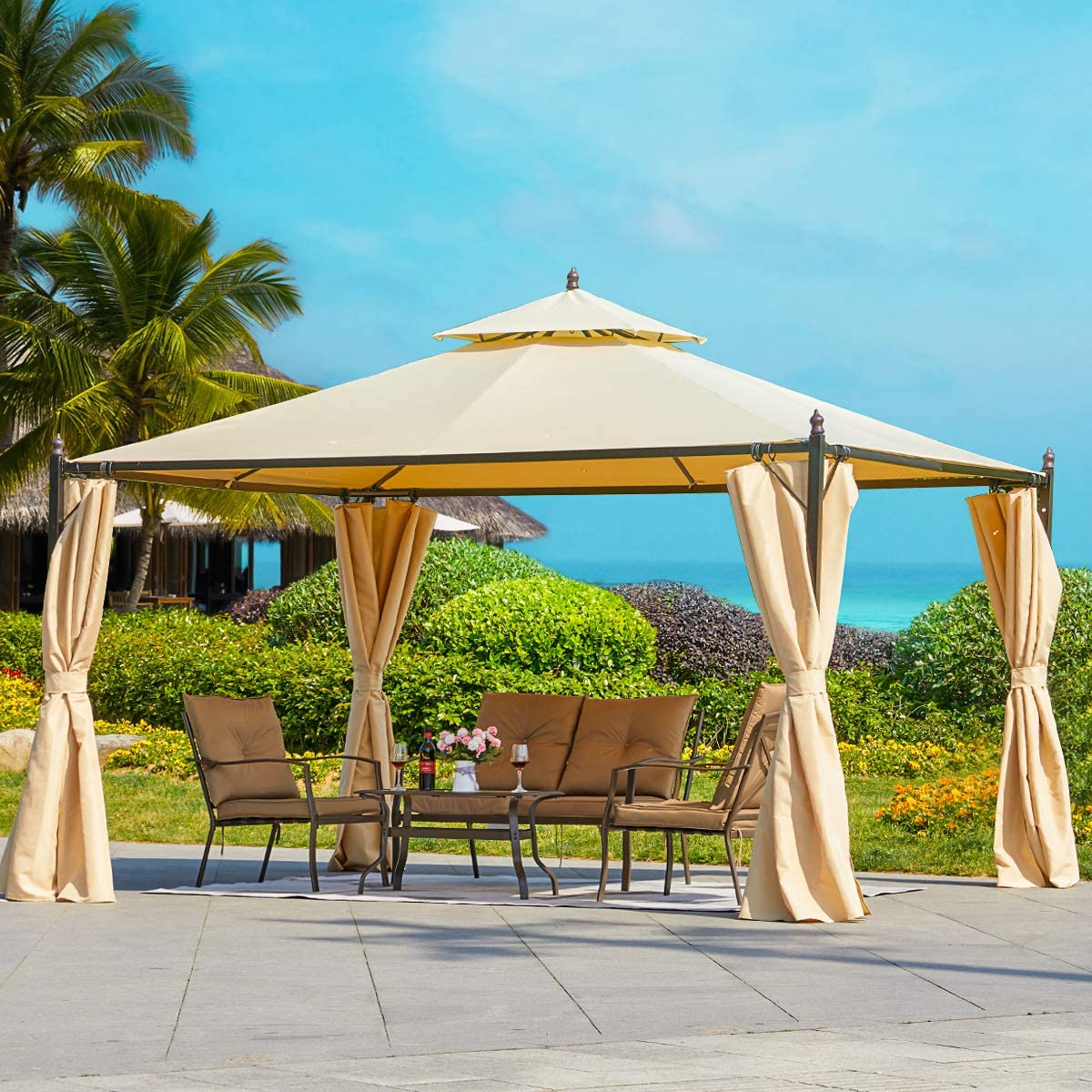 erommy 10x12 ft canopy gazebo outdoor gazebo steel frame with vented soft top for backyard patio party event beige
