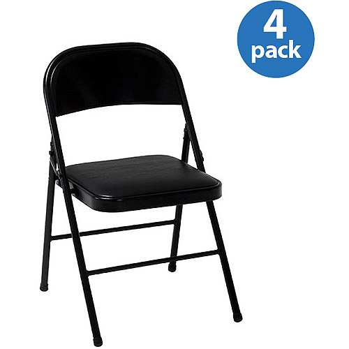 folding chairs walmart polywood modern adirondack chair mainstays vinyl in black color com