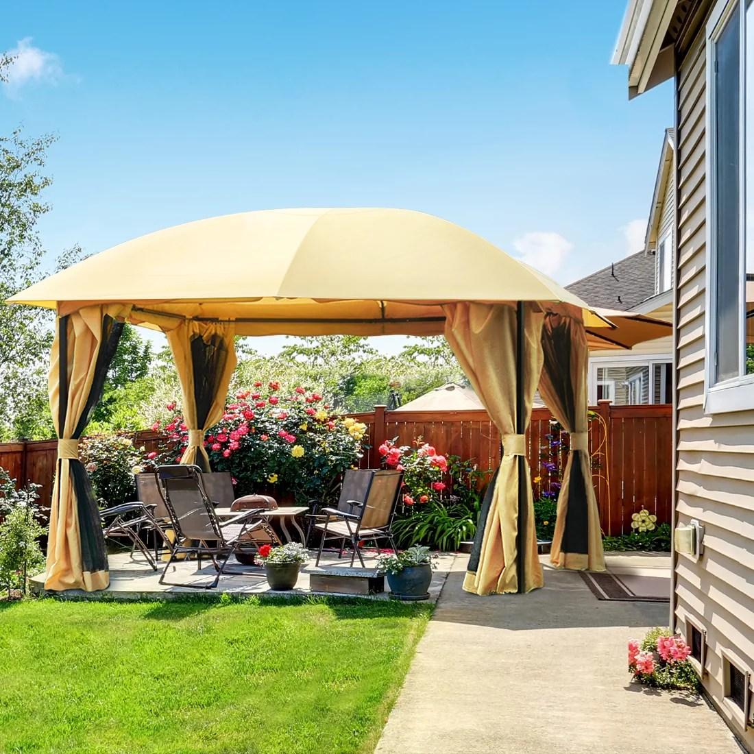 quictent 12x12 metal gazebo with mosquito netting sides screened gazebo canopy pergola for deck patio and backyard waterproof tan tan