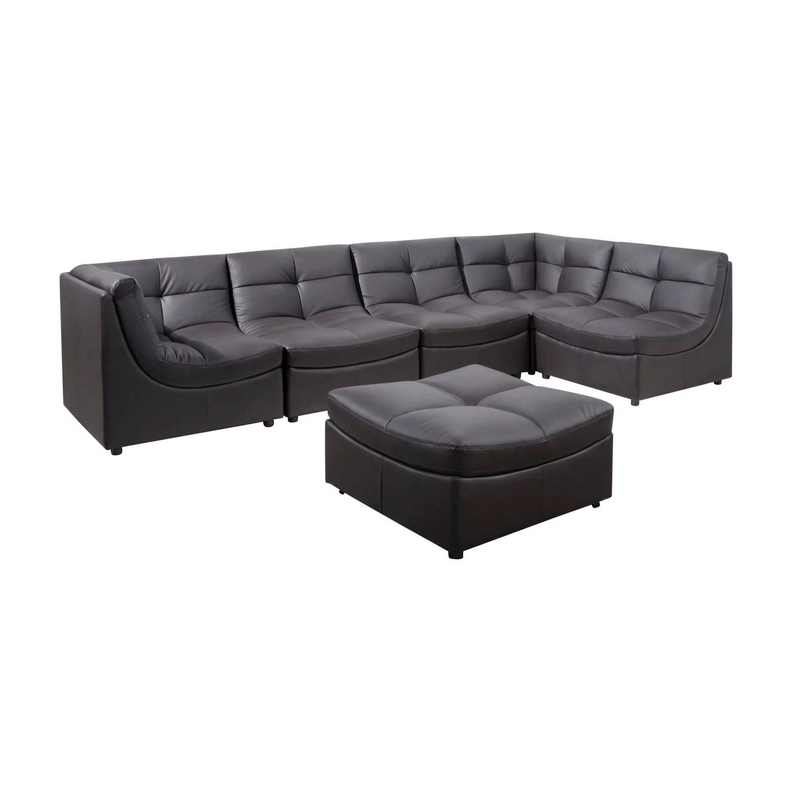 6 piece modular sectional sofa chenille fabric with queen sleeper best master furniture cloud walmart com
