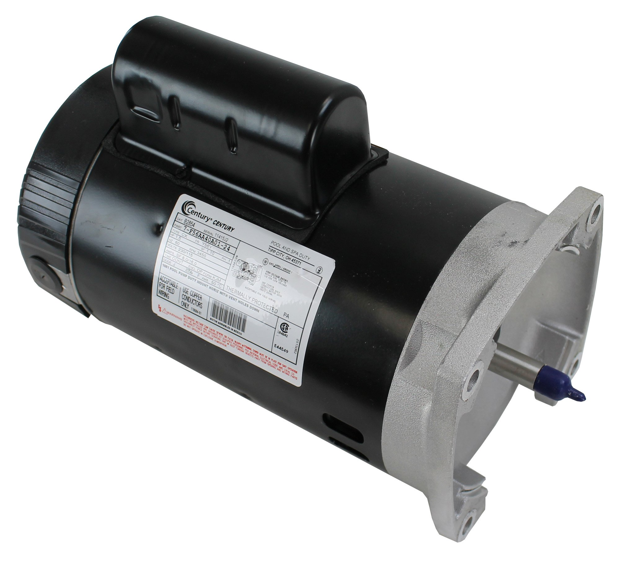 hight resolution of a o smith century b2854 up rate 1 5hp square flange pool spa replacement motor walmart com