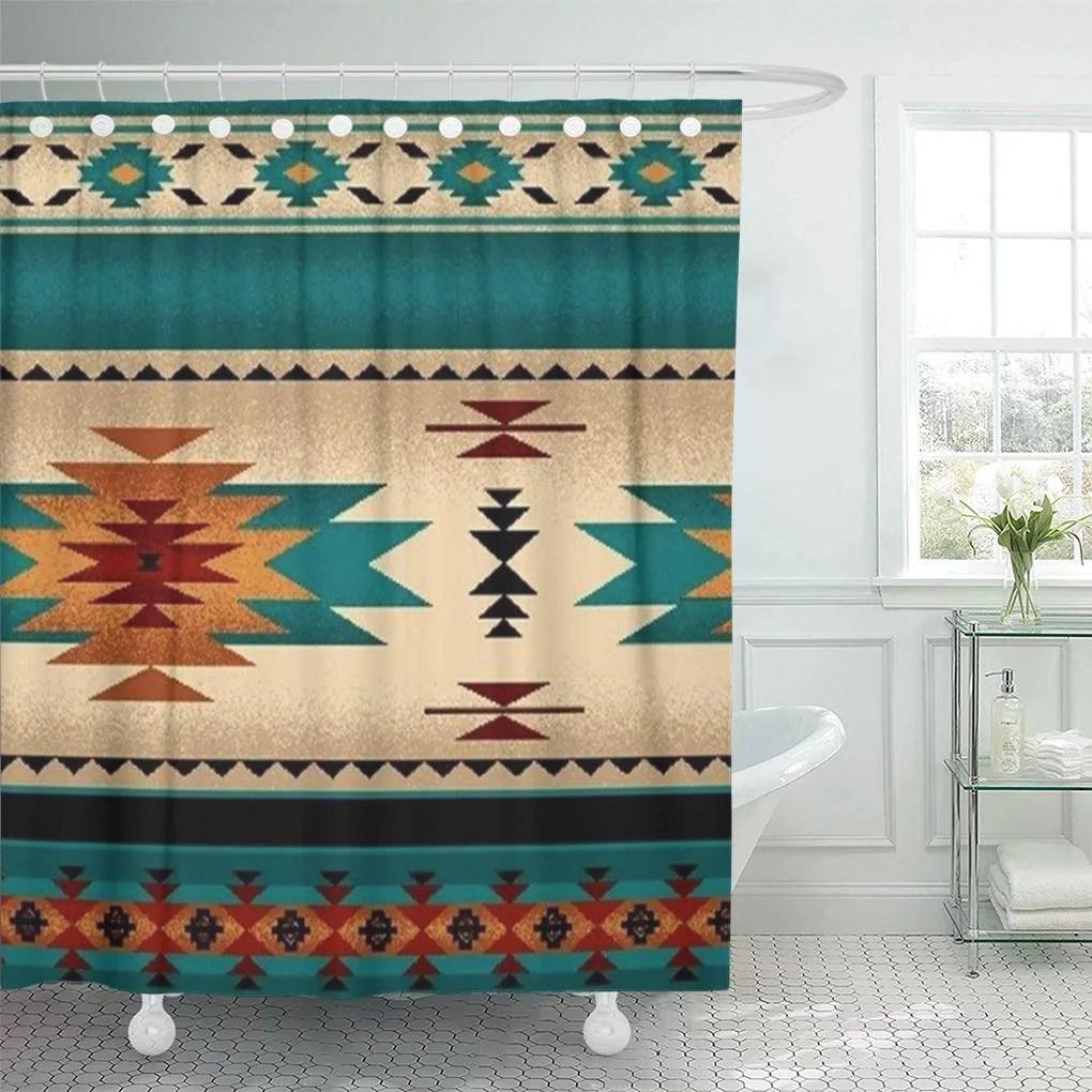 cynlon tribal turquoise blue hue western south southwestern bathroom decor bath shower curtain 60x72 inch