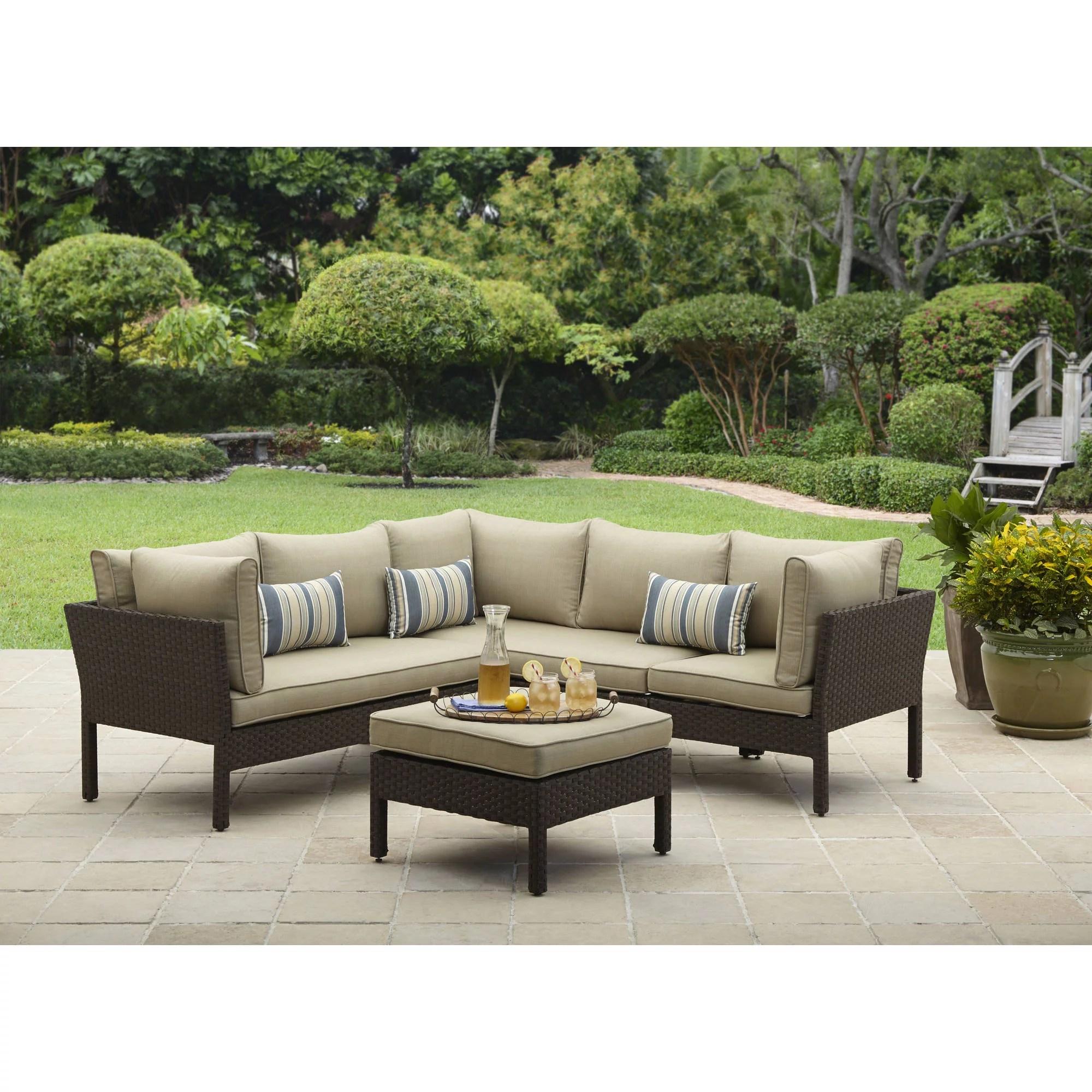 better homes gardens avila beach 4 piece wicker patio furniture sectional set with pillows walmart com