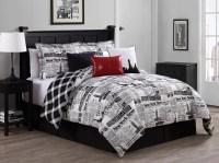 7 Piece Newspaper Reversible Comforter Set - Walmart.com