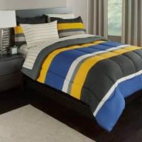 Gray, Yellow & Blue Stripes Boys Teen Twin Comforter Set ...