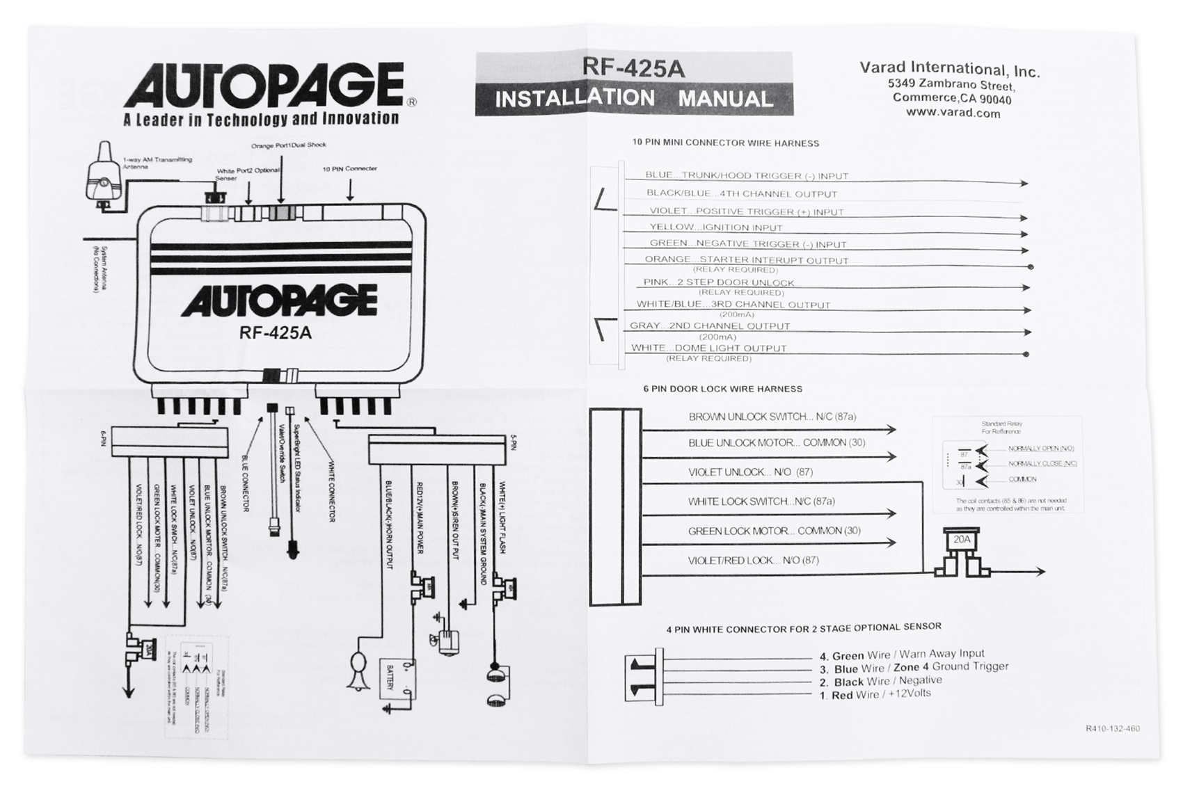 medium resolution of autopage rf425a 4 channel vehicle alarm security system with 2 way kenwood wiring diagram autopage rf 425 wiring diagram
