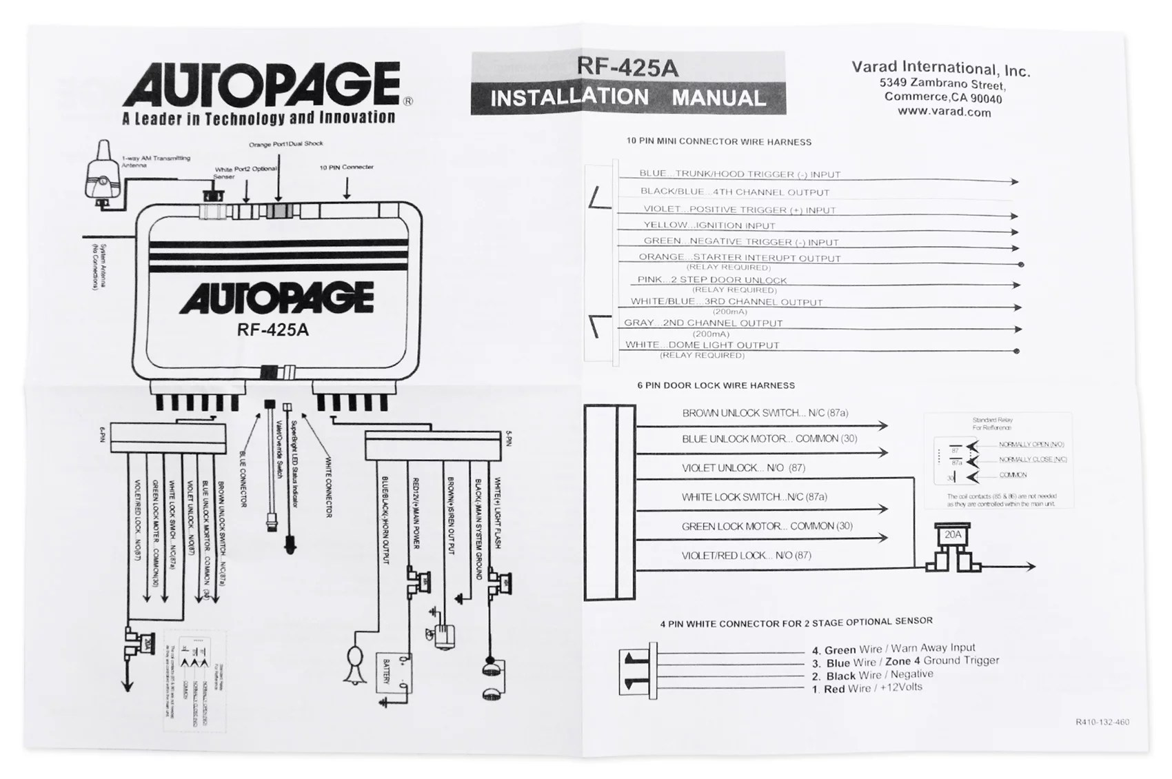 small resolution of autopage rf425a 4 channel vehicle alarm security system with 2 way kenwood wiring diagram autopage rf 425 wiring diagram