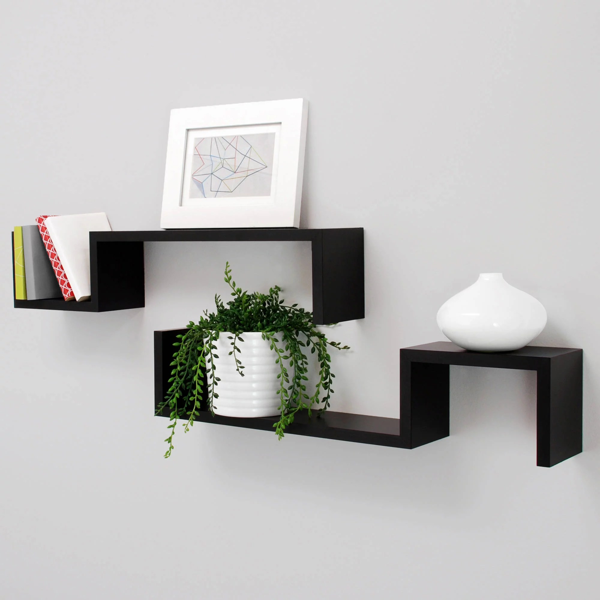 "New Black Finished Wood Set of 2 Wall Floating Shelf ""S"