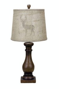 24 Masculine Brown Sculpted Table Lamp with Deer ...