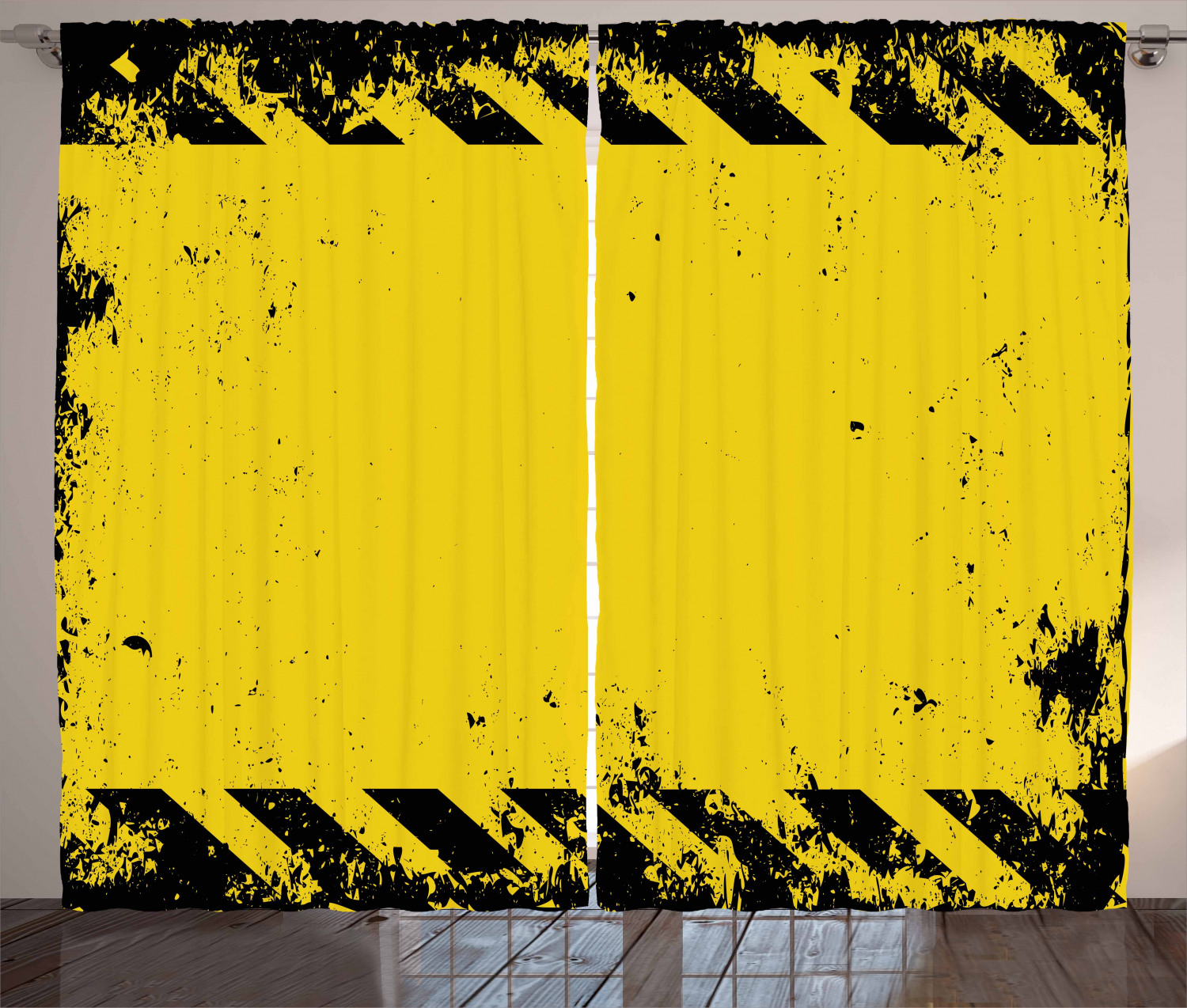 vintage yellow curtains 2 panels set hazard theme caution construction tape illustration with grunge look window drapes for living room bedroom