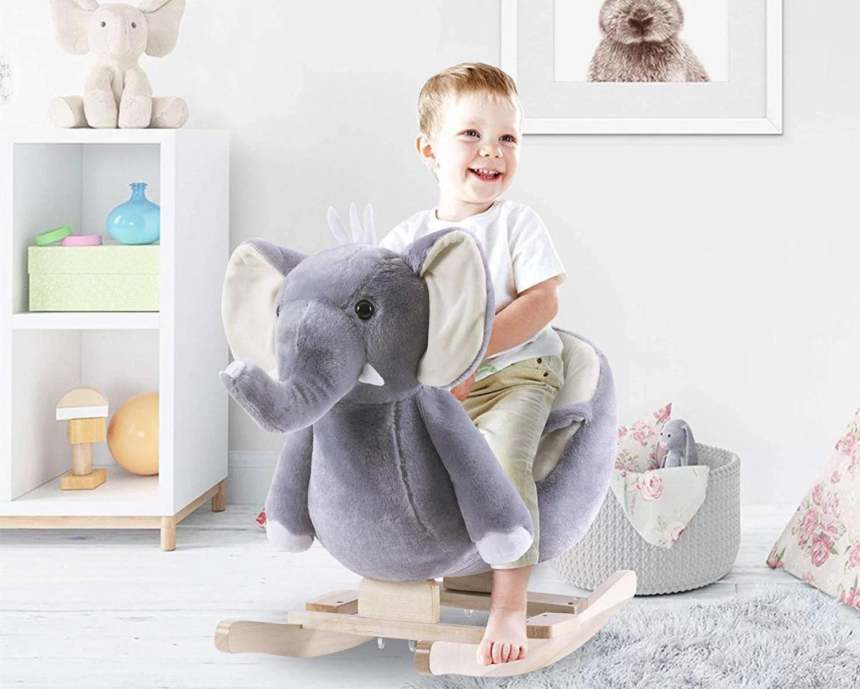 Merax Kids Plush Ride On Toy Rocking Horse Purple Elephant