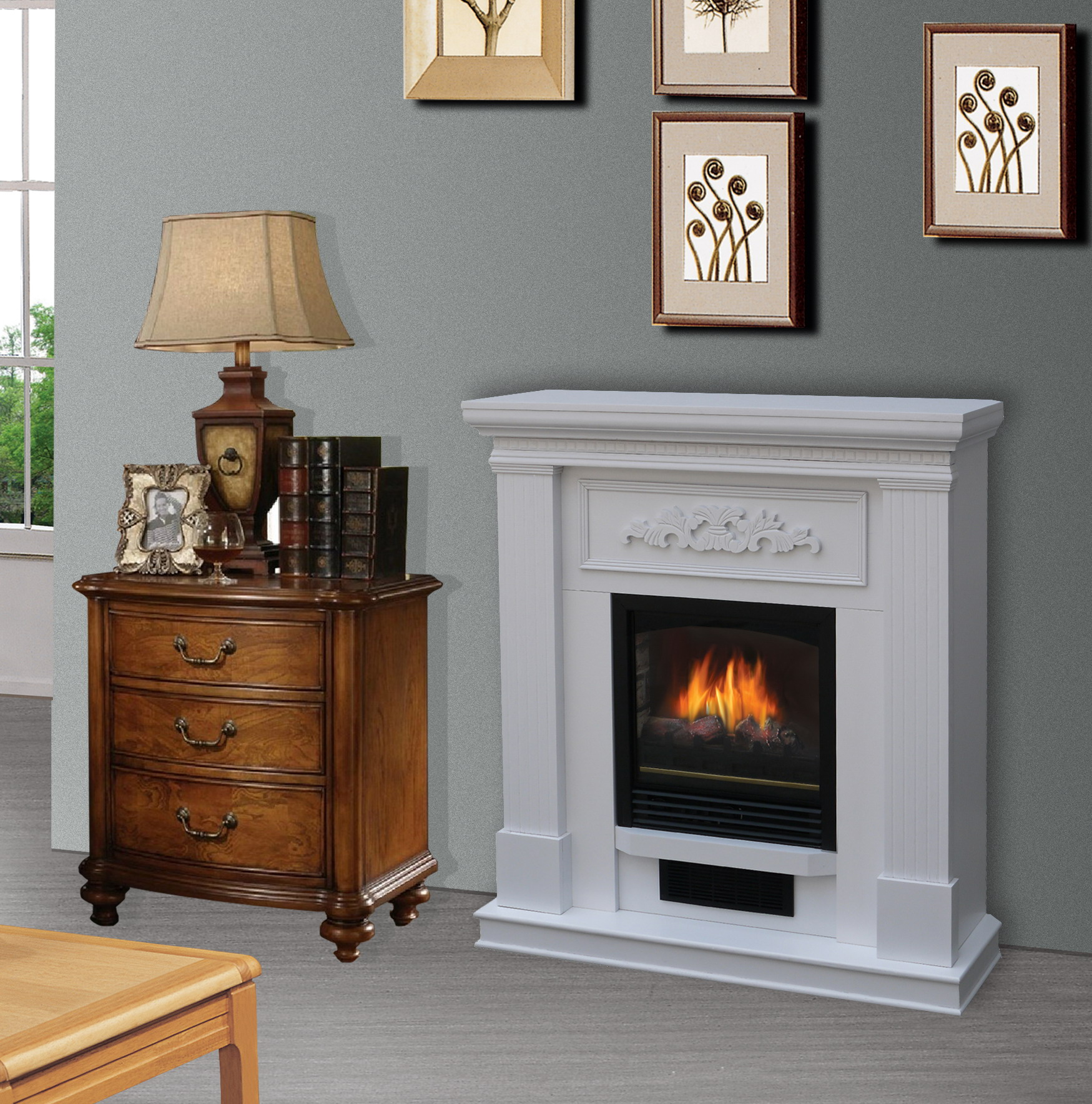 Bold Flame 38 inch WallCorner Electric Fireplace Heater in White  Walmartcom