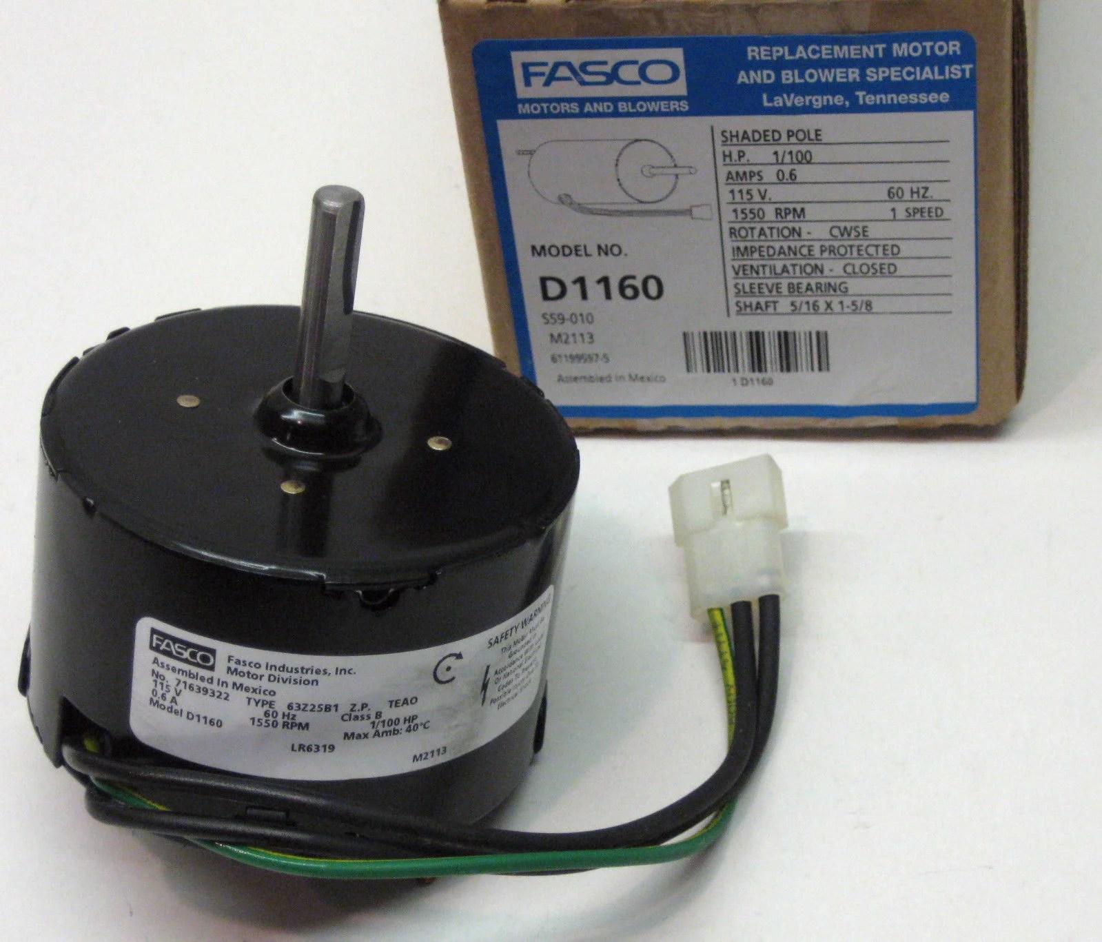 d1160 fasco bathroom fan vent motor for 7163 2593 655 661 663 655n 668 763 768