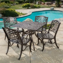 Pittman Outdoor Cast Aluminum 5 Piece Square Dining Set