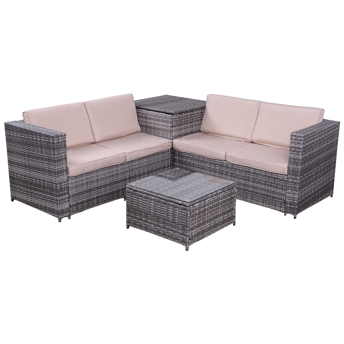 sofa box dfs skill 2 seater 4pcs patio rattan wicker furniture set loveseat cushioned w storage