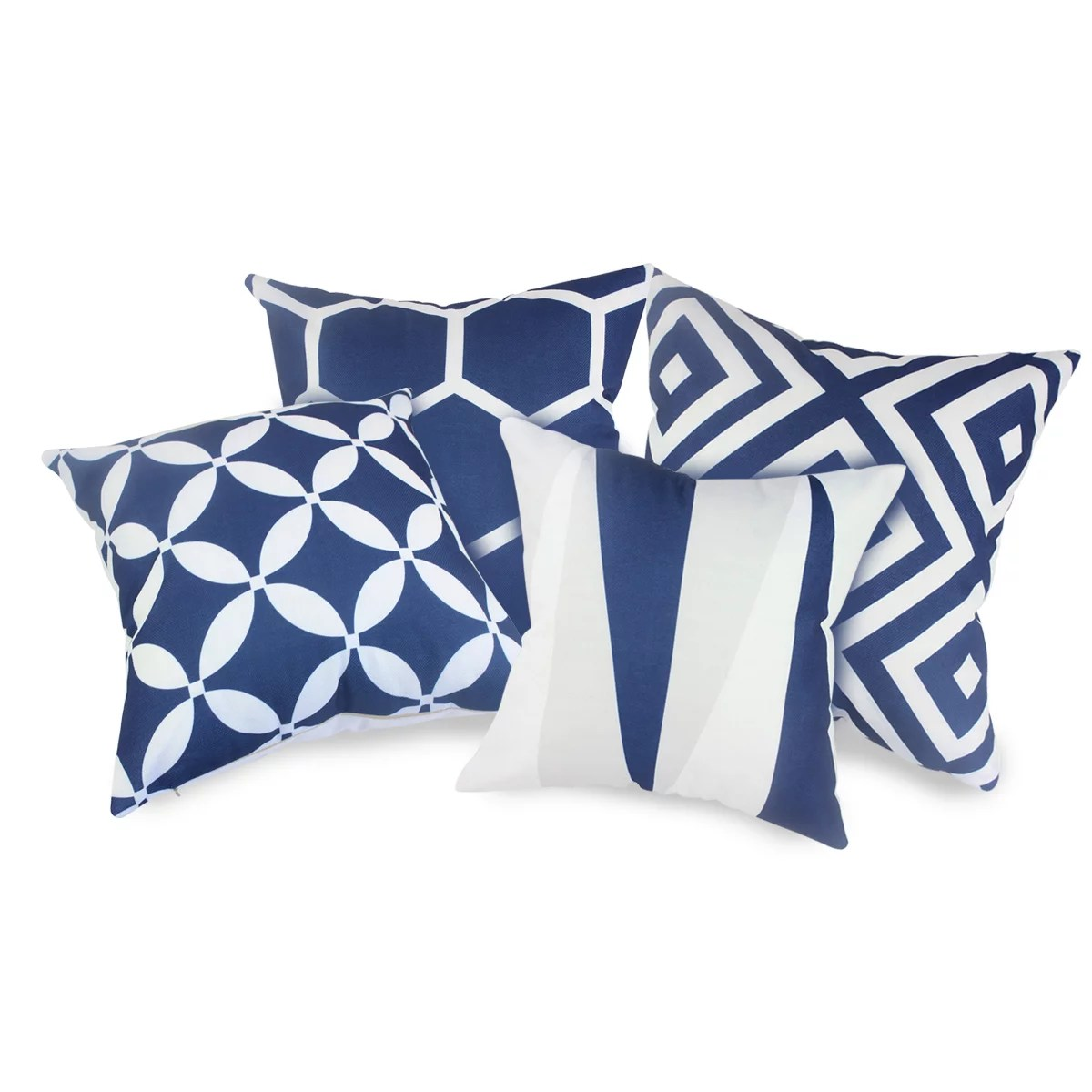 fabricmcc set of 4 navy blue and white geometric decorative pillow covers fashion couch throws cases cushion pillow covers 18 x 18 for living room