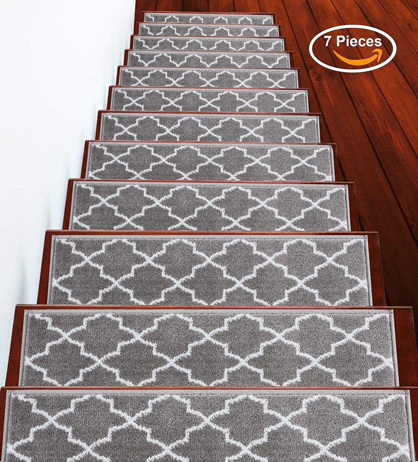 Sussexhome Stair Treads Stairs Slide Carpet Stair Tread Non | Gray Carpet On Stairs | Contemporary | Geometric | Design | Grey Pattern | Farmhouse