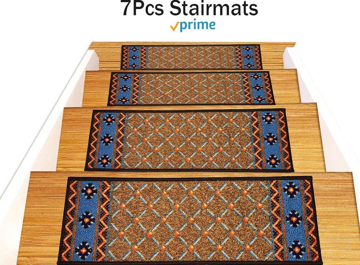 Gloria Rug Stair Treads Beautifully Designed Outdoor Skid | Rug Stair Treads Non Slip | Vinyl Flooring | Skid Resistant | 8.5 X26 | Overstock | Mat