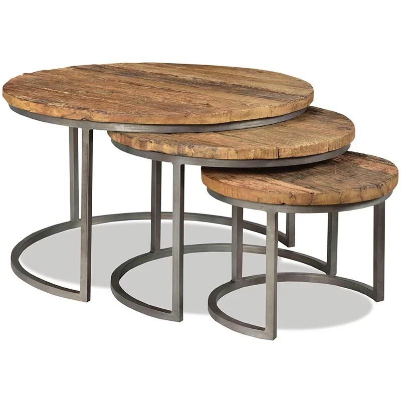 riverside furniture tania 3 piece nesting coffee table set in rustic walmart com